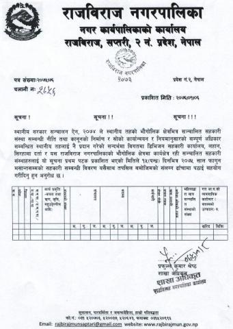 यस नगरक्षेत्र भित्र संचालित सहारी संस्थाहरु को १५ दिन भित्र विवरण बुझाउने सम्बन्धी सूचना ।